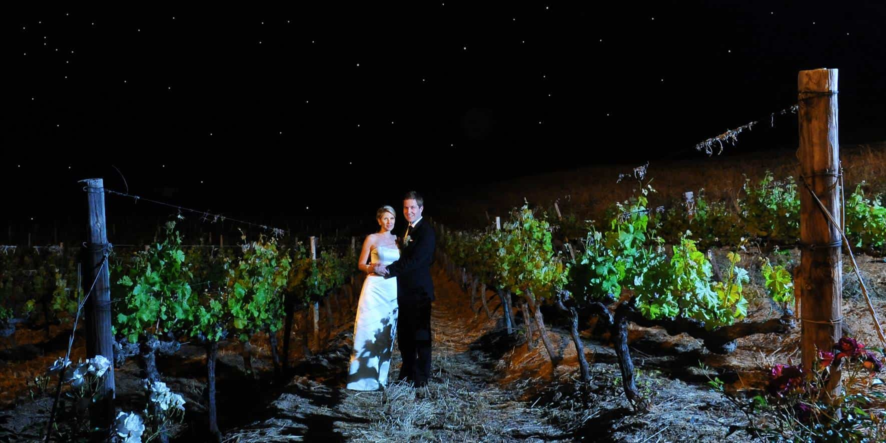 wedding couple at night in vineyard